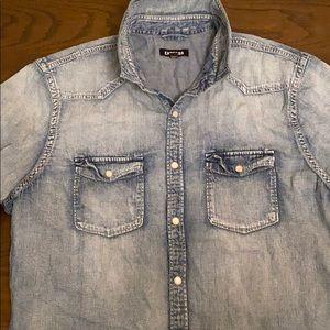 Express Faded Wash Denim Western Shirt